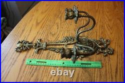 1 Antique French Sconces Candle Holder bird bow Brass bronze Vintage NO Crystals