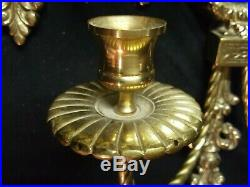 1 Glo Mar Vintage Brass Double Candle Holder With Beveled Mirror Wall Sconce