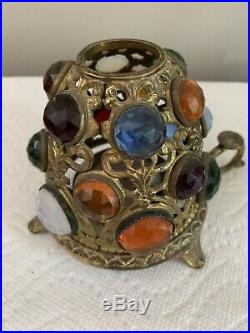 1 Vintage Victorian Brass Jeweled Fairy Finger Lamp Candle Holder A-2