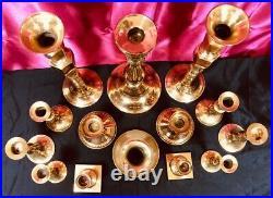 14 VTG Yellow Gold Brass Candlestick Candle Holders Graduating Wedding Decor
