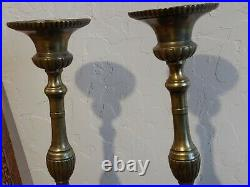 16 Antique 19th C. Heavy Brass Cherub Holy Family Candle Sticks Candle Holders