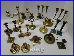 16 Vintage Brass Candelabra CandleSticks Lot Events Parties Wedding