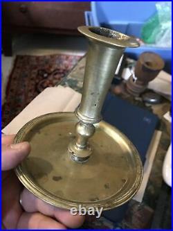 17th Century Rare Dutch Dish Bottom Brass Candle Holder 1650-1680