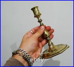 17th Century Spanish Brass Candlesticks Bold Shaft Flat Octagonal Bases C. 1650