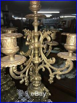19 Tall Pair Vintage Italian Ornate Brass Candelabras Heavy 5 Candle Holders