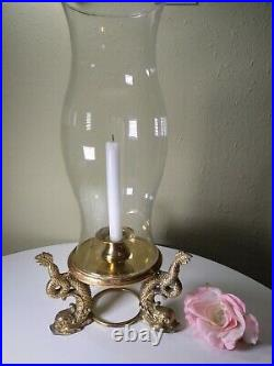 1950's Antique Coy Fish Hurricane Brass Lamp Candle Holder 18 Tall