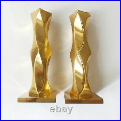 1986 Vintage Pair (2) MCM Modern Vallonmassing Solid Brass Candle Holders Sweden