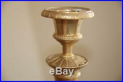 19th century French Charles X Gilt Bronze / Brass Pair of Candlesticks Empire