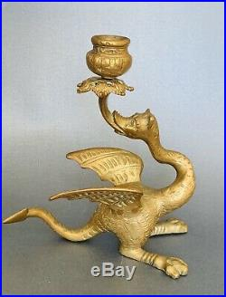 2 Antique French Brass Gothic Winged Dragon Griffin Candlesticks Candle Holders