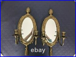 2 Brass Wall Sconces Beveled Mirror & Candle Holders Acorn Hollywood regency