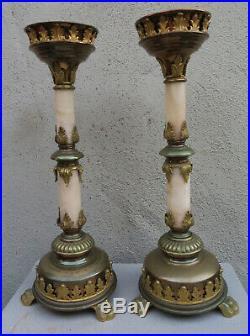 2 Bronze alabaster candle holder Brass candlestick GOTHIC old Antique candelabra