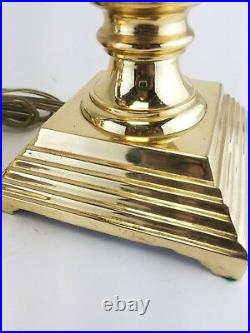2 Candlestick Electric Lamp CandleHolders Solid Brass Blue Traditional Regency