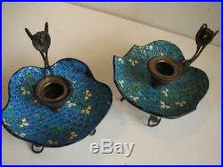 2 French Longwy Faience Candle Holders Brass Mounts Chamber Sticks