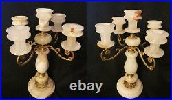 2 Gorgeous Onyx Vintage Candelabra / Candle Holders Handcrafted