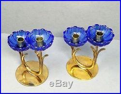 2 Gunnar Ander Ystad Metall Candle Holder Sweden Blue Glass Brass Mid Century
