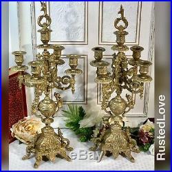 2 Italian Brevettato style Brass / Bronze Vintage Baroque Candelabra 5 Arm