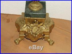 2 Italy Brevettato Brass Bronze Candelabras, Baroque Cherub/Faun/Phoenix, Marble