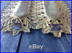 2 Large Edigio Casagrande, Italy Solid Brass Wall Sconces Candle Holders, 1940's