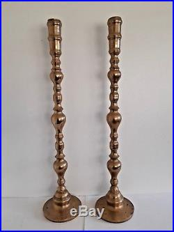 2 Large Vintage 36 Brass Floor Candlesticks Candle Holders Altar Church Temple