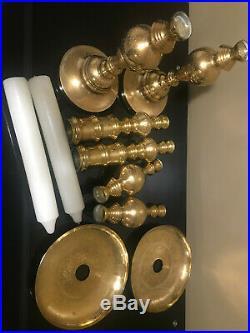 2 Large Vintage 37 Brass Floor Candle Holders, Candlesticks, Engraved Brass