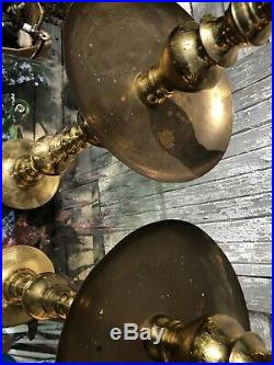 2 Large Vintage 37 Brass Floor Candlesticks Candle Holders Altar Church Temple