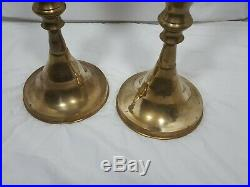 2 Large Vintage Tall Brass Floor Candlesticks Candle Holders Altar Church Temple