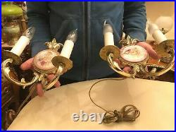 2 Limoges Wall Hanging Lamps Candle Holders Converted to Wall Lamps
