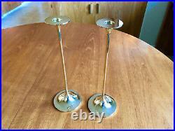 2 MCM Danish Modern Brass Hi Fi Candle Holders Candlestick TORBEN ORSKOV 10.5 IN