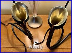 2 Mid Century Original Brubaker Iron Sculpture With Brass Calla Lilly, Candle