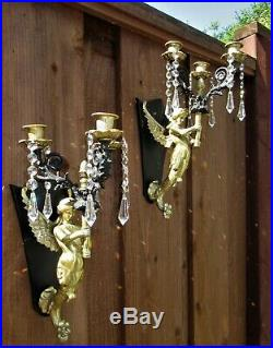 2 PAIR Sconces Vintage Spelter Mermaid crystal brass Candle holder Sexy Lady