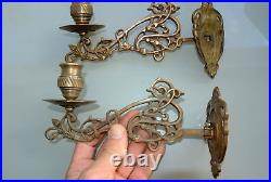 2 PIANO SCONCE solid heavy brass 8 rotate candle holder aged heavy brass B