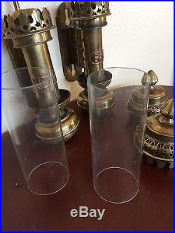 2 Stunning Brass Glass Gwr Railroad Train Candle Holders