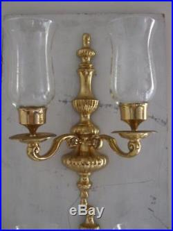 2 Solid Brass Double Arm Wall Sconce Candle Holder Hurricane Grapes Glass Shades