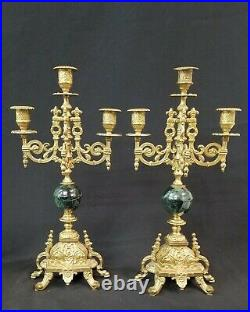 2 VTG 5 ARM BRASS & GREEN MARBLE CANDELABRA 17 -AS IS Repair or parts