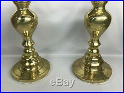 2 Vintage 39 Brass Floor Candlesticks Candle Altar Church Temple Fireplace