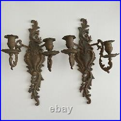 2 Vintage Antique Brass Wall 2-Arm Candle Stick Holder Candelabra Sconce French