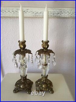 2 Vintage Antique Victorian Art Nouveau Candle Holders With Lead Crystal Prisms