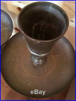 2 Vintage Brass Candlesticks Candle Holders Floor Altar Church Large Pair 29