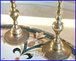 2 Vintage Brass Candlesticks Candle Holders Floor Altar Church Pair Large 41