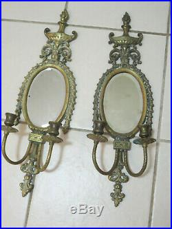 2 Vintage Brass Wall Sconces With Oval Mirrors Dual Candle Holders