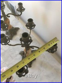 (2) Vintage Italian Candelabra Brass Marble Onyx Ornate Regency Candle Holder 5