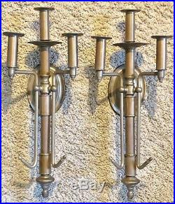 2 Vintage Mid Century Modern Hollywood Regency Brass Wall Sconces Candle Holders