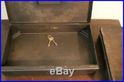 2 Vintage Restoration Hardware Black Metal Boxes with Skeleton Keys & Brass