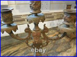 2 Vintage Rococo Ornate Brass Candelabras HEAVY FREE SHIPPING