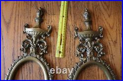 2 Vintage Solid Brass Wall Sconce Double Candle Stick Holder frame -No Mirror