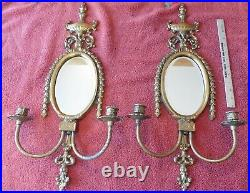 2 Vintage Solid Brass Wall Sconces Double Candle Stick Holder frames with Mirrors