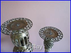 2 Vintage Tall Ornate Brass Candlestick Candle Holder Filigree Design