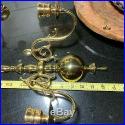 2 Virginia Metalcrafters #2025 Brass Two Arm Wall Sconce Candle Holders XLNT