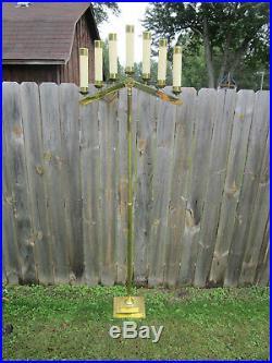 2 Vtg 5.5' BRASS ADJUSTABLE TELESCOPIC CHURCH ALTAR CANDELABRAS Candle Holders