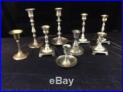 20 Brass Candlesticks Holders Wedding Christmas Crafts Patina 3-12 inches Lot 1